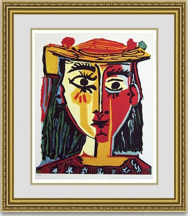 ピカソ 「帽子を被った女の胸像」 額縁付き